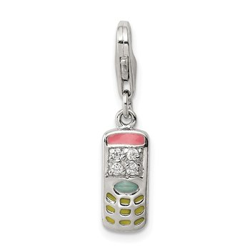 Sterling Silver CZ & Enameled Cell Phone Charm