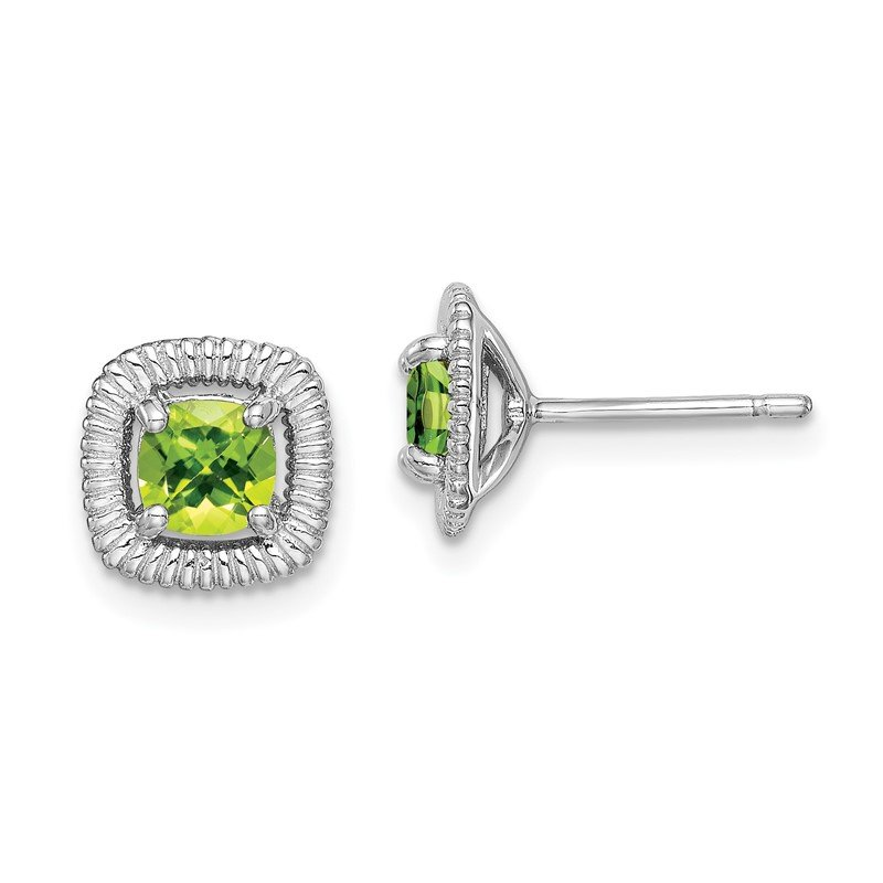 Quality Gold Sterling Silver Rhod-plat Peridot Square Post Earrings