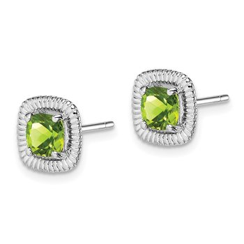Sterling Silver Rhod-plat Peridot Square Post Earrings
