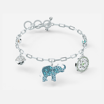 Swarovski Symbolic Elephant Bracelet, Light multi-colored, Rhodium plated