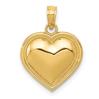 14k Polished Domed Heart Pendant