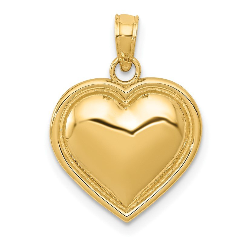 Quality Gold 14k Polished Domed Heart Pendant
