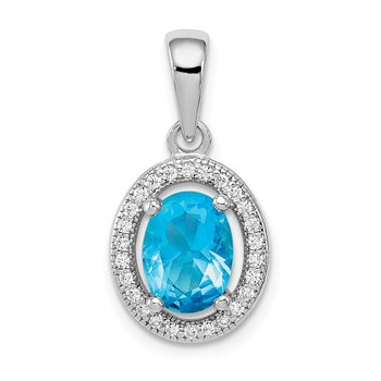 Sterling Silver Rhod-plated w/ Light Blue and White CZ Oval Pendant
