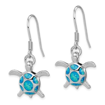 Sterling Silver Rhodium Created Blue Opal Turtle Shepherd Hook Earrings