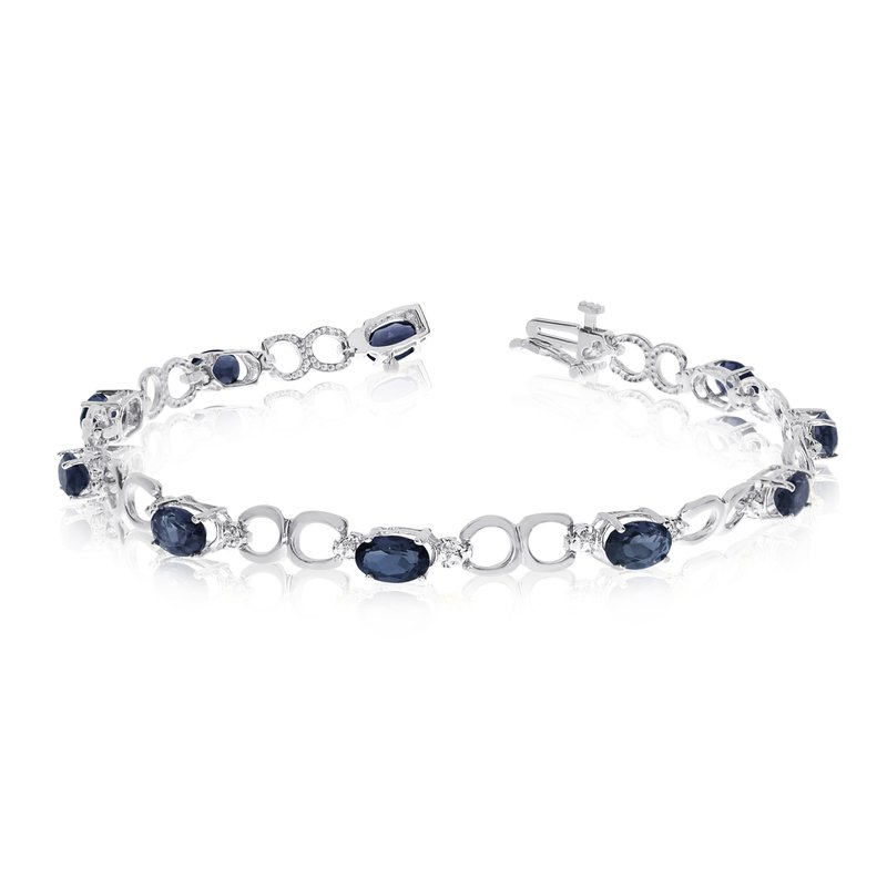 Color Merchants 10K White Gold Oval Sapphire and Diamond Bracelet