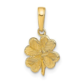 14k Polished and Textured 4-Leaf Clover Pendant