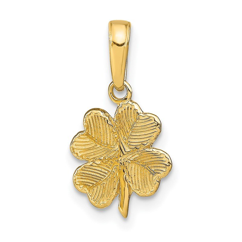 Quality Gold 14k Polished and Textured 4-Leaf Clover Pendant