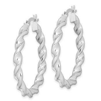 Sterling Silver Rhodium Plated Twisted 3.5x35mm Hoop Earrings