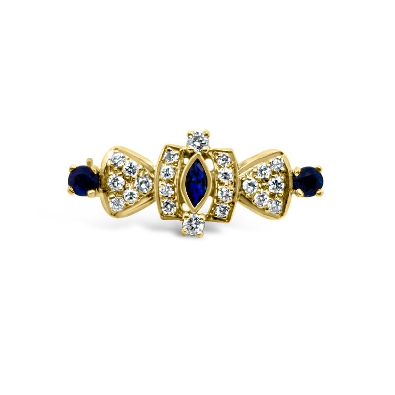 Yellow Gold Diamond Natural Blue Sapphire Vintage Brooch