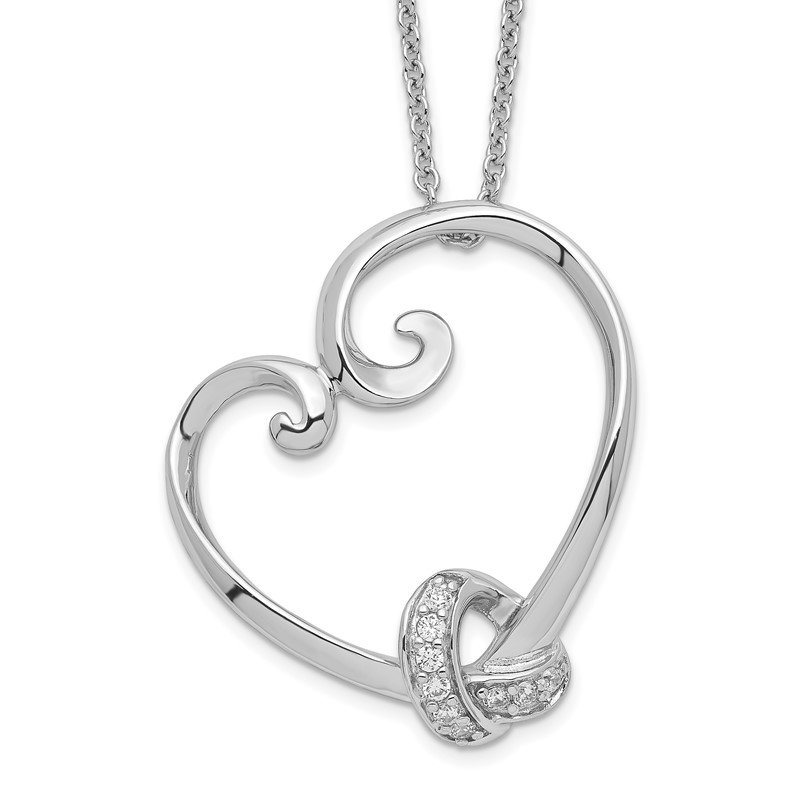 Quality Gold Sterling Silver & CZ Loveknots 18in Heart Necklace