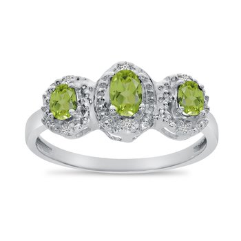 14k White Gold Oval Peridot And Diamond Three Stone Ring