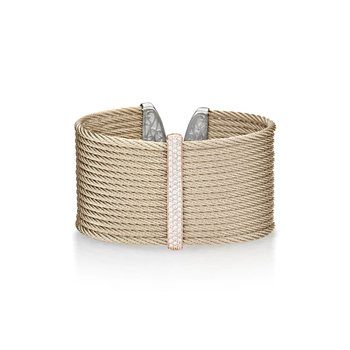 Carnation Cable Large Monochrome Cuff with 18kt Rose Gold & Diamonds