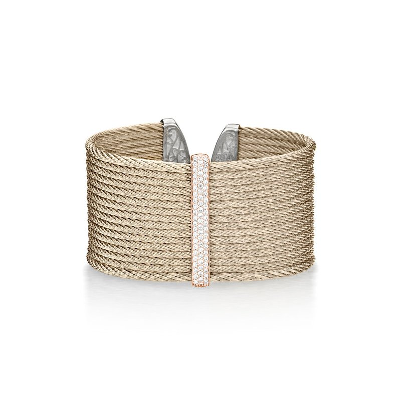 ALOR Carnation Cable Large Monochrome Cuff with 18kt Rose Gold & Diamonds