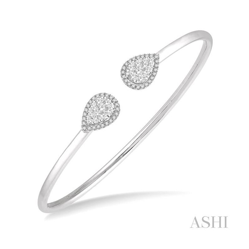 ASHI pear shape lovebright essential cuff open diamond bangle