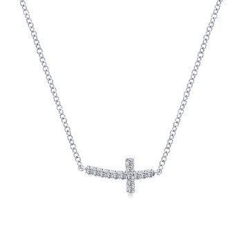 14k White Gold Diamond Pave Cross Necklace