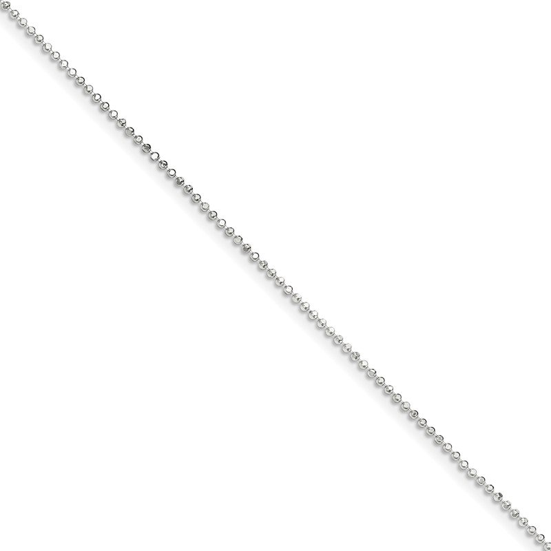 Quality Gold Sterling Silver 1.05mm Square Fancy Beaded Chain Anklet