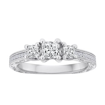 14KW 1/4CTW PR ENGRAVED 3STONE BRIDAL RING