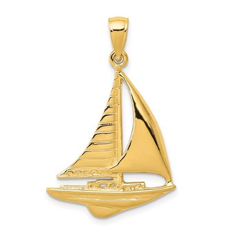 14K 2-D Sailboat Pendant