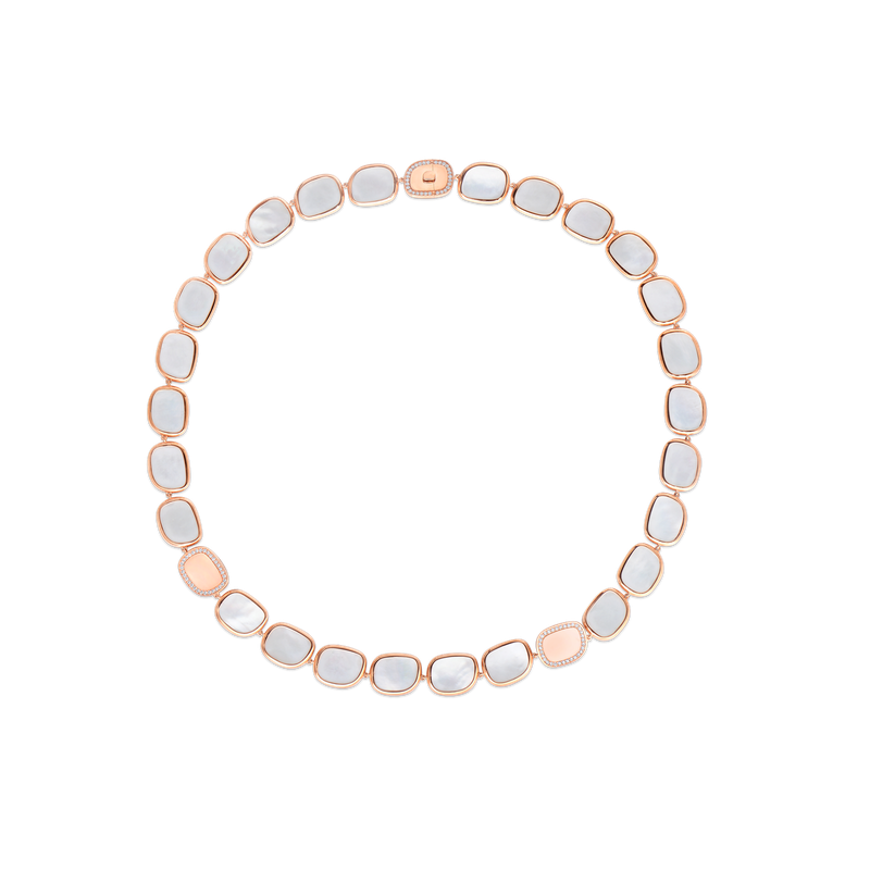 Roberto Coin 18Kt Gold Necklace With Diamonds And Mother Of Pearl