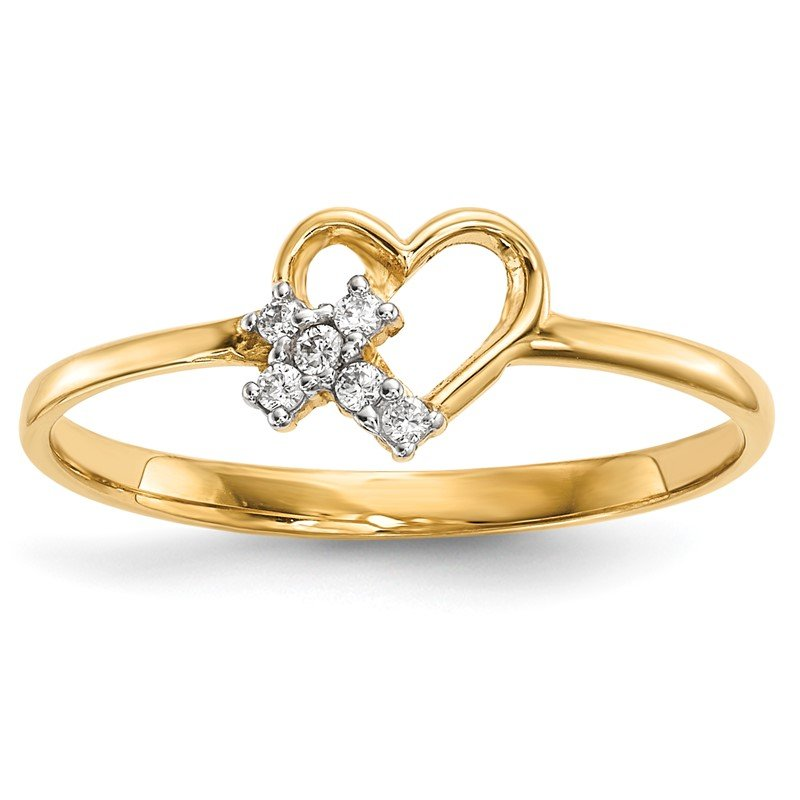 Quality Gold 14k Heart w/CZ Cross Ring