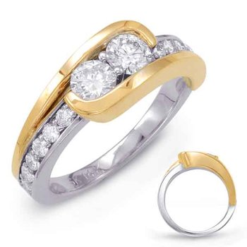 White & Yellow Gold Two Stone