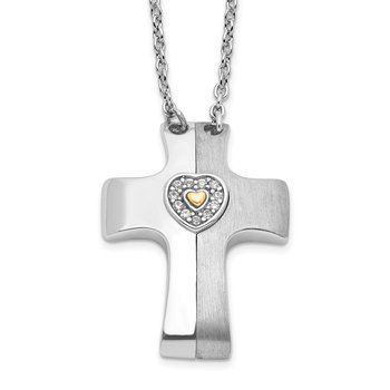 Sterling Silver Gold-plated w/Sapph. Magnetic Cross w/Heart Adjust.Necklace