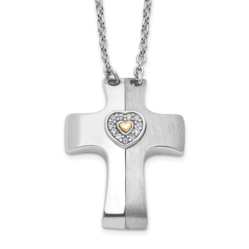 Quality Gold Sterling Silver Gold-plated w/Sapph. Magnetic Cross w/Heart Adjust.Necklace