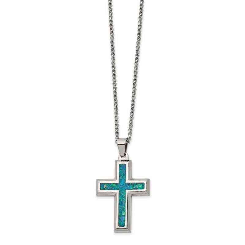 Chisel Stainless Steel Polished w/Imitation Opal Large Cross 22in Necklace