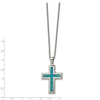 Stainless Steel Polished w/Imitation Opal Large Cross 22in Necklace