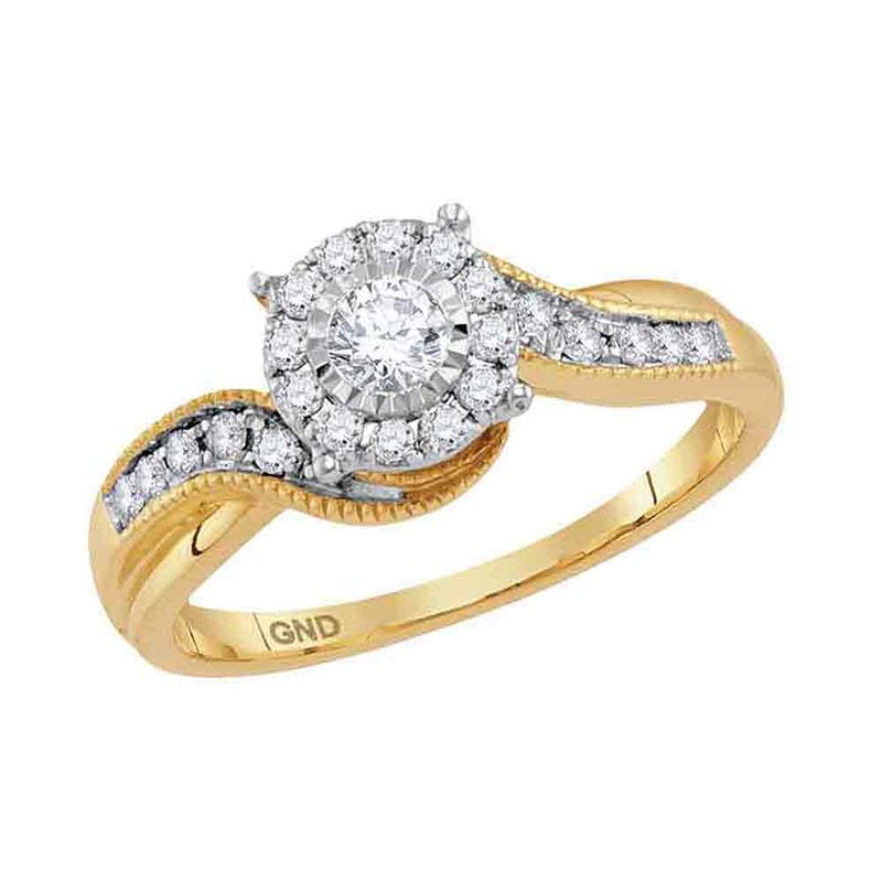 Gold-N-Diamonds, Inc. (Atlanta) 14kt Yellow Gold Womens Round Diamond Cluster Bridal Wedding Engagement Ring 1/3 Cttw