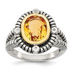 Quality Gold Sterling Silver w/14k Citrine w/Diamond Ring