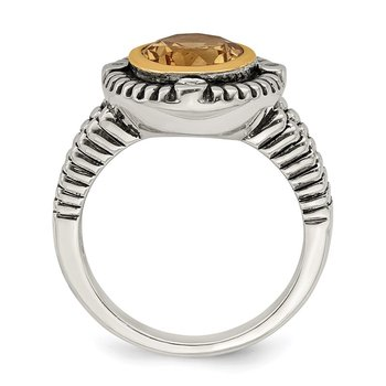 Sterling Silver w/14k Citrine w/Diamond Ring