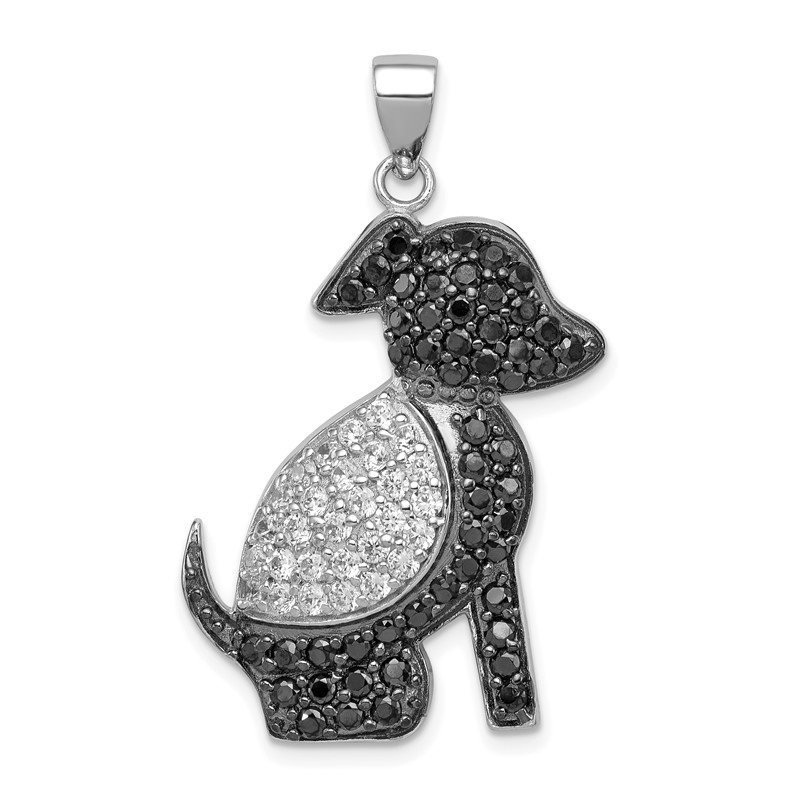 Sterling Silver Rhodium-plated Black and Clear CZ Dog Pendant