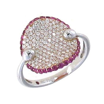18KT GOLD RING WITH DIAMONDS AND PINK SAPPHIRES
