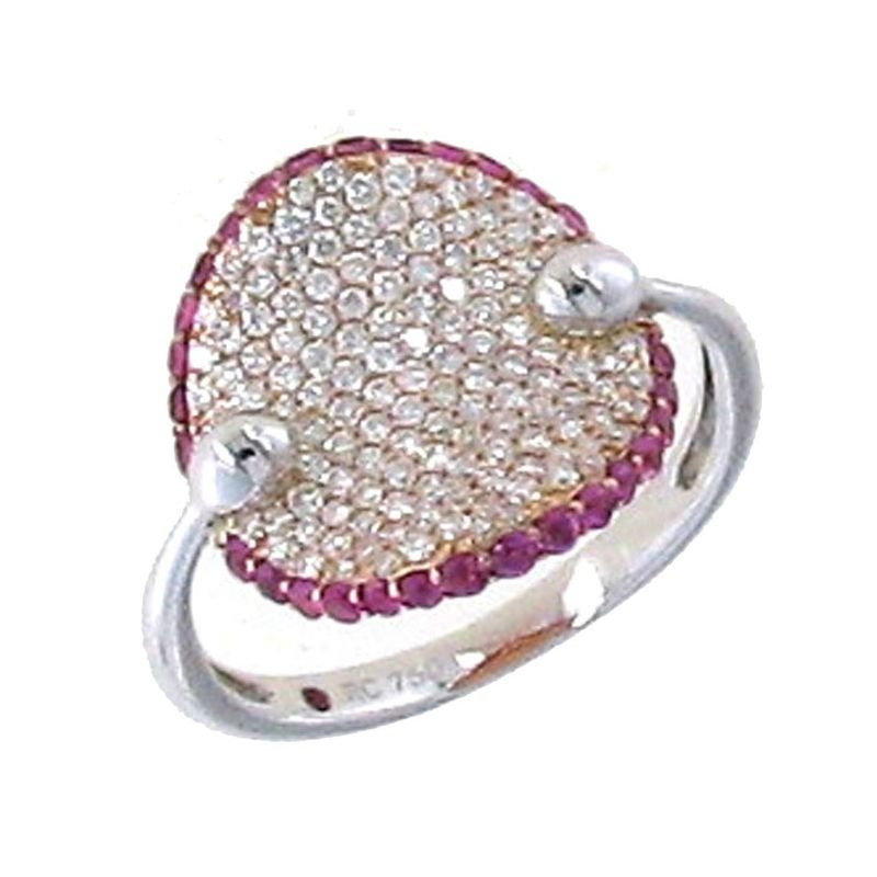 Roberto Coin 18KT GOLD RING WITH DIAMONDS AND PINK SAPPHIRES