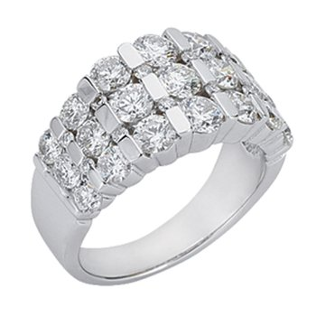 Bar Set Dome White Gold Ring