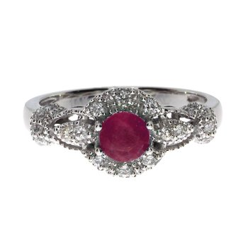 14k White Gold Round Ruby Diamond Ring