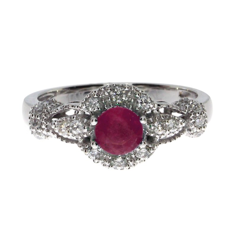 Color Merchants 14k White Gold Round Ruby Diamond Ring