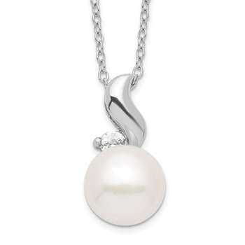 Sterling Silver Rhodium 9-10mm White FWC Pearl CZ Necklace