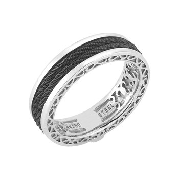 Men's Black Cable Interior White Gold Ring