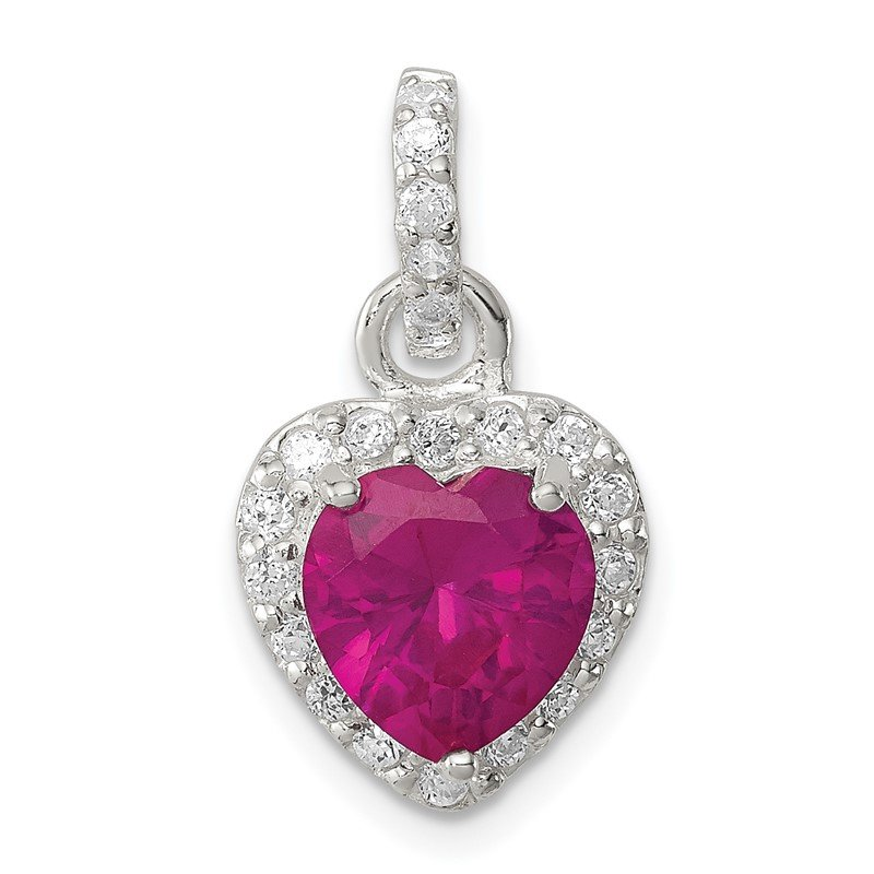 Quality Gold Sterling Silver Red CZ Heart Pendant
