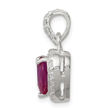 Sterling Silver Red CZ Heart Pendant
