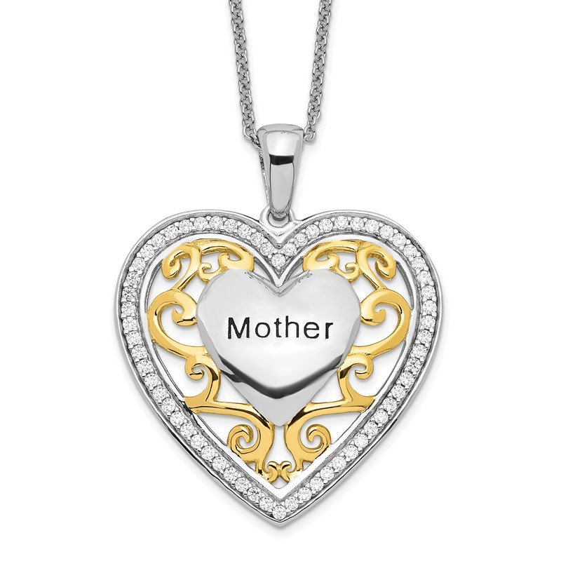 Quality Gold Sterling Silver & Gold-plated Mother 18in Heart Necklace
