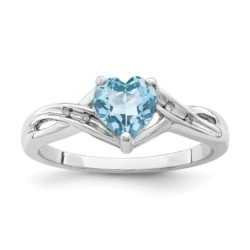 Quality Gold Sterling Silver Rhodium Plated Dia. Lt Swiss Blue Topaz Heart Ring