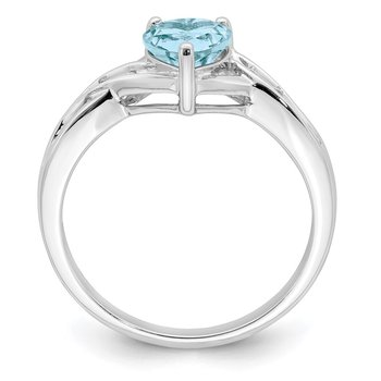 Sterling Silver Rhodium Plated Dia. Lt Swiss Blue Topaz Heart Ring