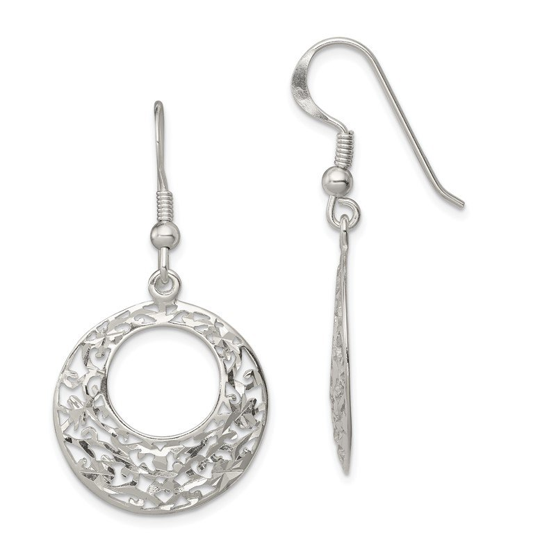 Quality Gold Sterling Silver Diamond-cut Shepherd Hook Earrings