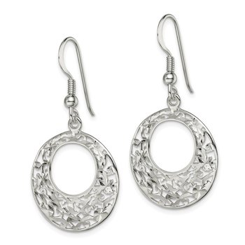 Sterling Silver Diamond-cut Shepherd Hook Earrings