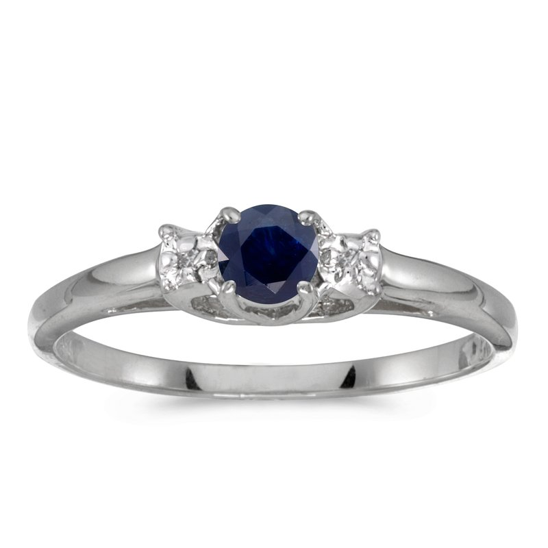 Color Merchants 14k White Gold Round Sapphire And Diamond Ring