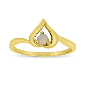 14k Yellow Gold Round Opal Heart Ring