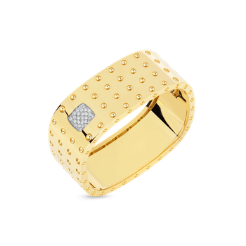 4 Row Square Bangle With Diamonds &Ndash; 18K Yellow Gold, S